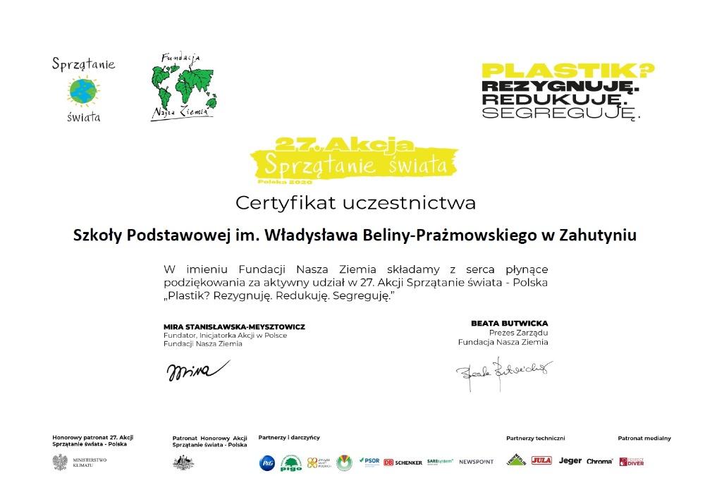 """Certyfikat """"Sprzątanie Świata"""""""